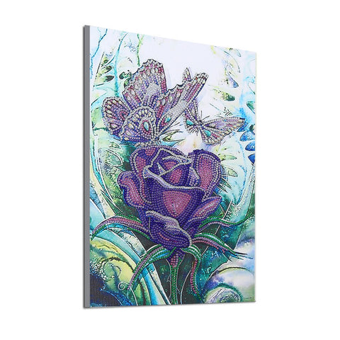 Image of 5D Diamond Painting Partial Drill Sparkling Butterflies and Purple Rose