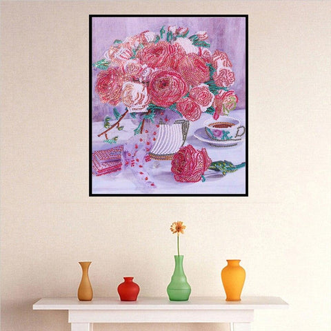 5D Diamond Painting Partial Drill Sparkling Peony Vase