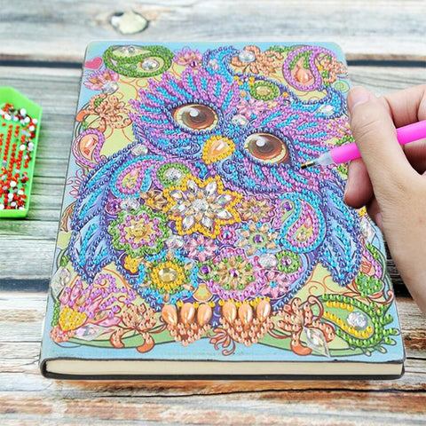 5D Diamond Painting Notebook Cute Colorful Owl A5 Partial Drill