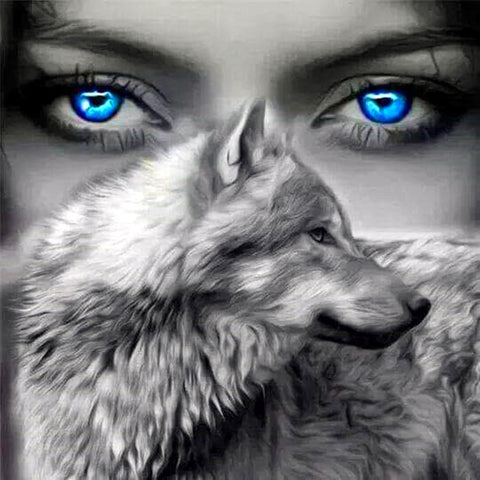 5D Diamond Painting Blue Eyed Wolf Spirit