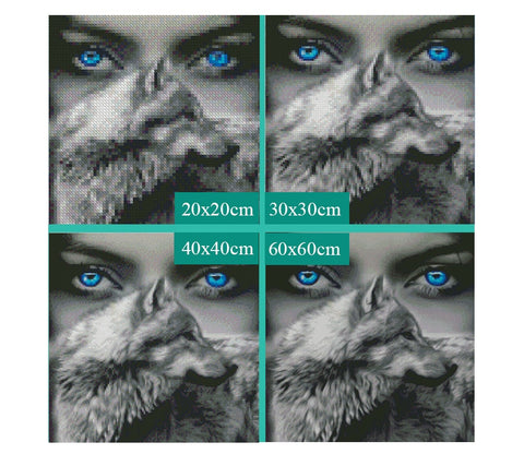 Image of 5D Diamond Painting Blue Eyed Wolf Spirit