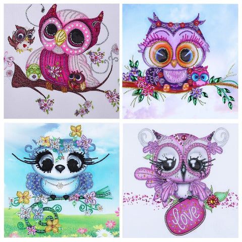 5D Diamond Painting Sparkling Partial Drill Cute Owls