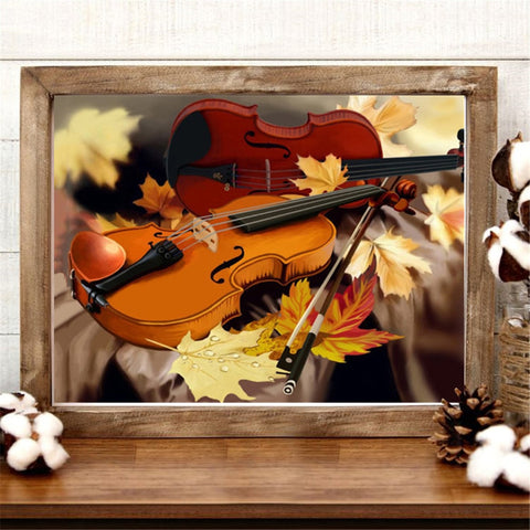 Image of 5D Diamond Painting Two Violins in the Fall