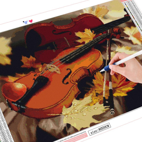 5D Diamond Painting Two Violins in the Fall