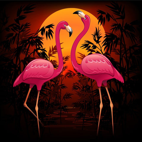 Image of 5D Diamond Painting Flamingo Couple at Sunset