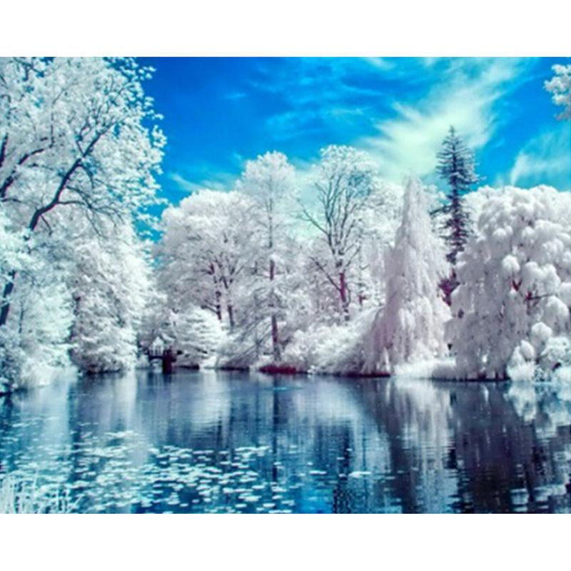 5D Diamond Painting Winter Lake Landscape