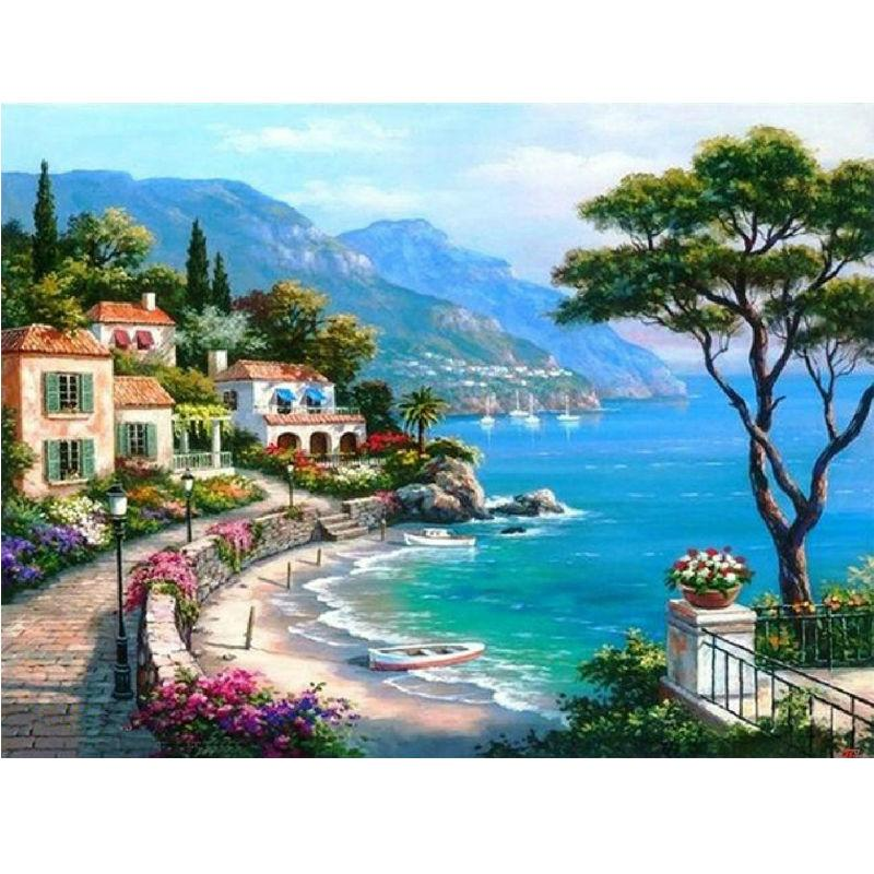 5D Diamond Painting Seaside Villa Natural Scenery