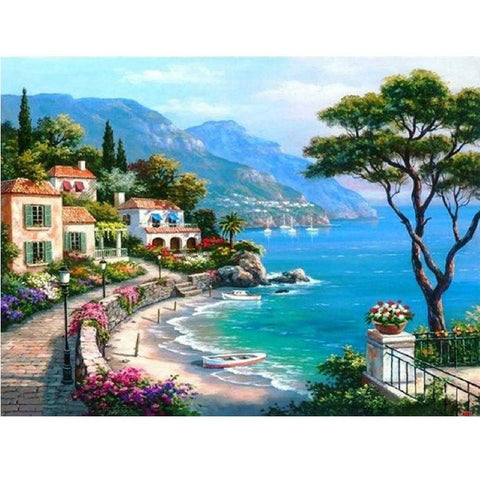 Image of 5D Diamond Painting Seaside Villa Natural Scenery