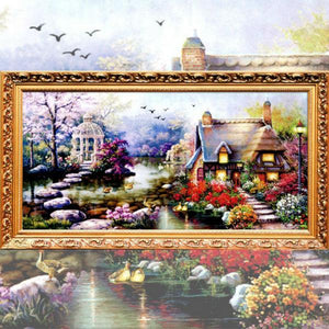 5D Diamond Painting New Garden Lake House Scenery