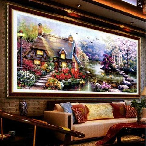 Image of 5D Diamond Painting New Garden Lake House Scenery