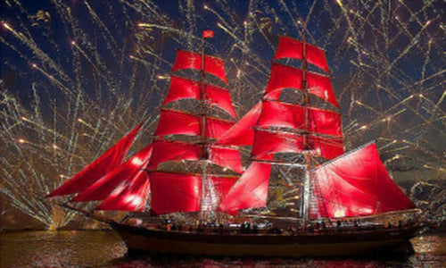 5D Diamond Painting Red Sailboat