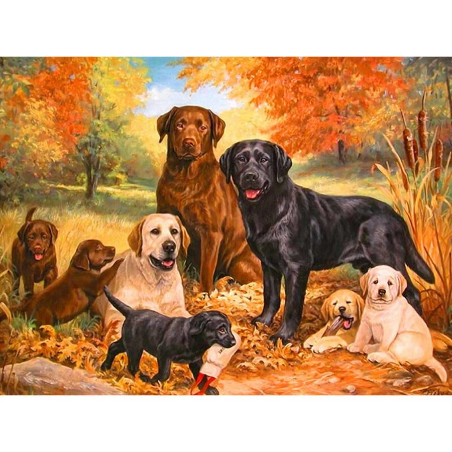 5D Diamond Painting Labrador Family