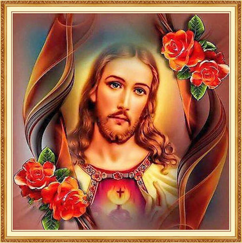 Image of 5D Diamond Painting Jesus and Roses