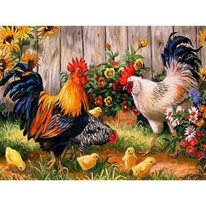 5D Diamond Painting Roosters, Chicken, and Chicks 2