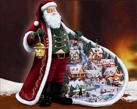 Image of 5D Diamond Painting Christmas Village in Santa's Cloak