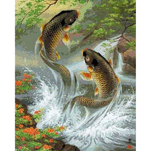 5D Diamond Painting Jumping Fish