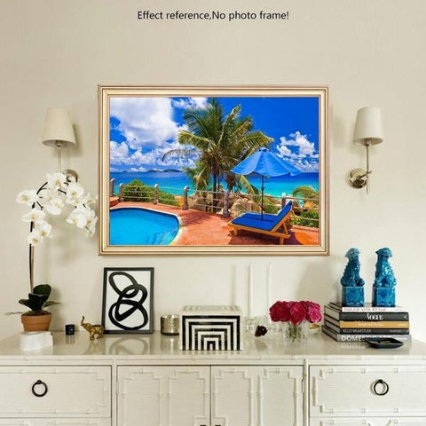 Image of 5D Diamond Painting Pool by the Beach **Round**
