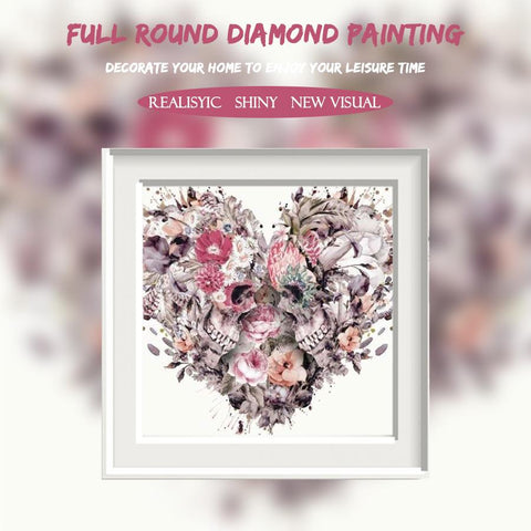 Image of 5D Diamond Painting Heart-shaped Skull Flower