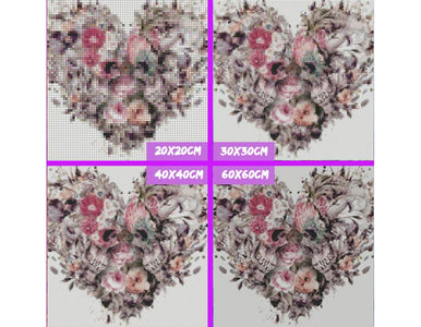 5D Diamond Painting Heart-shaped Skull Flower
