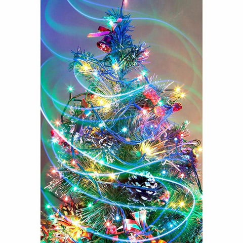 Image of 5D Diamond Painting Colored Christmas Tree