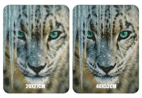 Image of 5D Diamond Painting Ice Leopard
