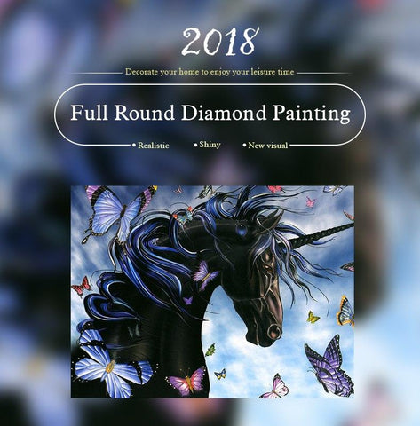 Image of 5D Diamond Painting Unicorn and Butterfly