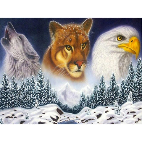Image of 5D Diamond Painting Wolf, Leopard, and Eagle