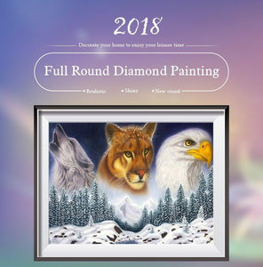5D Diamond Painting Wolf, Leopard, and Eagle