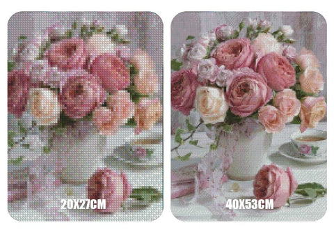 Image of 5D Diamond Painting Peony & Tea **Round Drills Only**