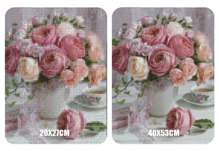 5D Diamond Painting Peony & Tea **Round Drills Only**