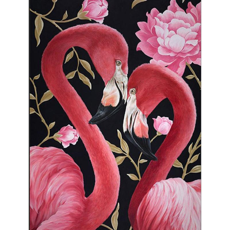 5D Diamond Painting Flamingo Couple