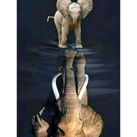Image of 5D Diamond Painting Elephant Reflection