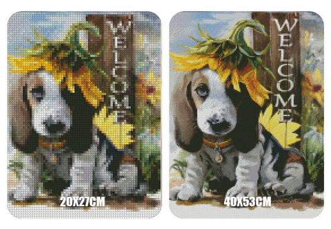 "5D Diamond Painting Cute Puppy and Sunflower ""Welcome"""