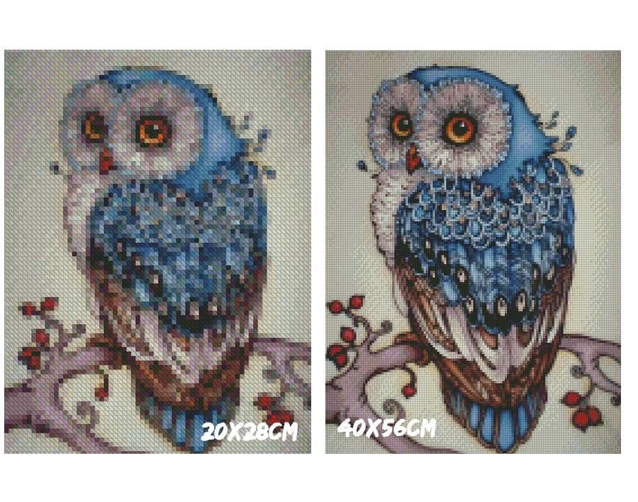 5D Diamond Painting Cartoon Bluish Owl