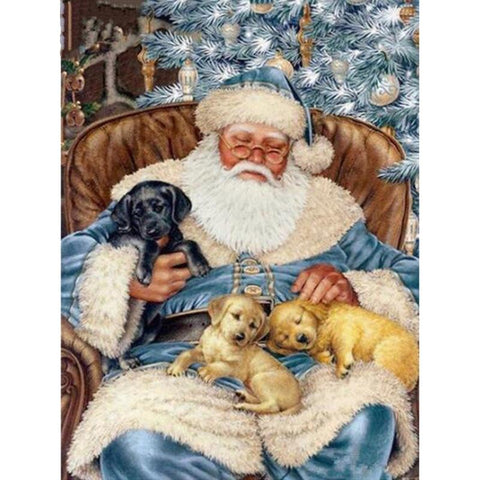 Image of 5D Diamond Painting Santa Claus and Puppy