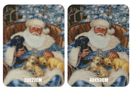 5D Diamond Painting Santa Claus and Puppy