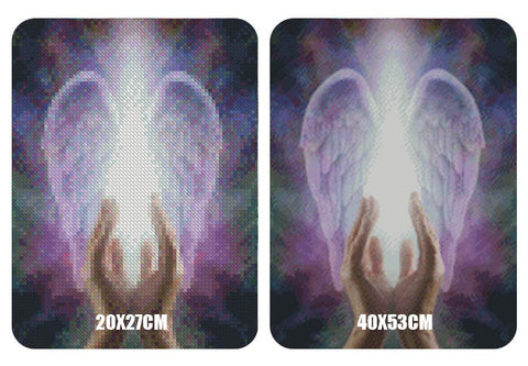 Image of 5D Diamond Painting Praying Hands and Angel Wings