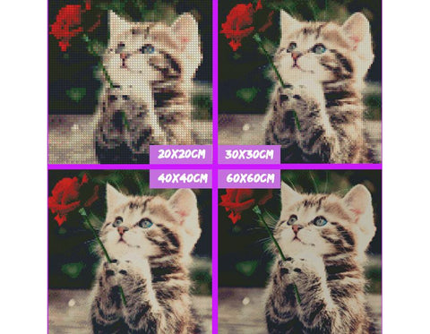 Image of 5D Diamond Painting Vintage Cat with a Rose
