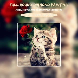 5D Diamond Painting Vintage Cat with a Rose