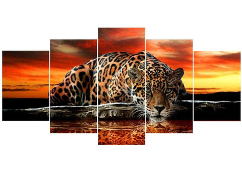 Image of 5D Diamond Painting Sunset Leopard 5Pcs