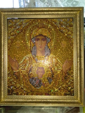 Image of 5D Diamond Painting Sparkling Partial Drill - Holy Mother Mary and Jesus