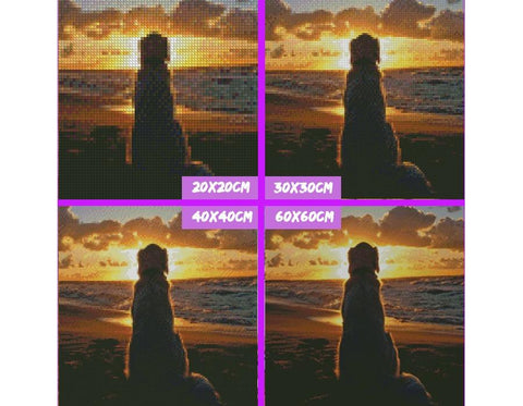 Image of 5D Diamond Painting Sunset Dog