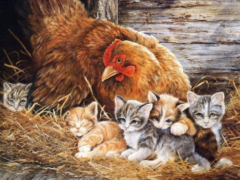 Image of 5D Diamond Painting Mommy Chicken and Baby Kitten