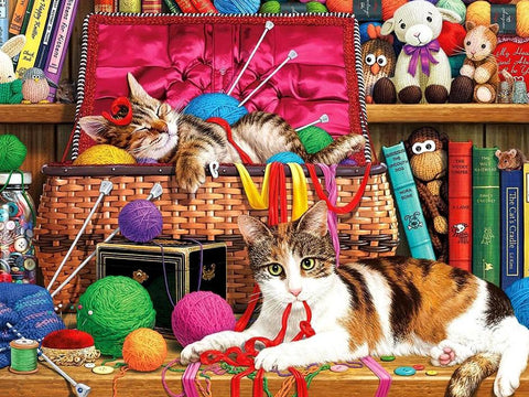 Image of 5D Diamond Painting Knitting Home Kitten