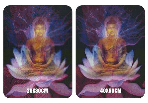 Image of 5D Diamond Painting Purple Lotus Buddha