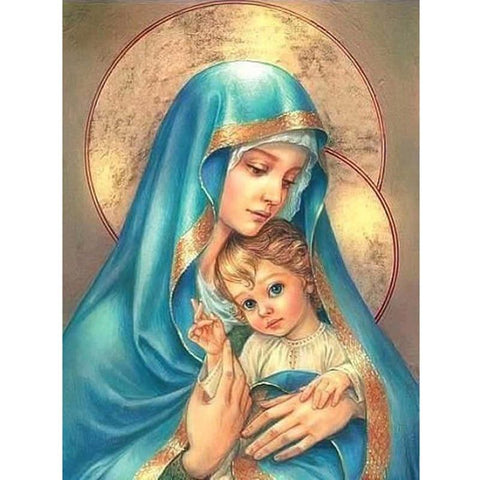 "Image of 5D Diamond Painting ""Our Lady & Son"""