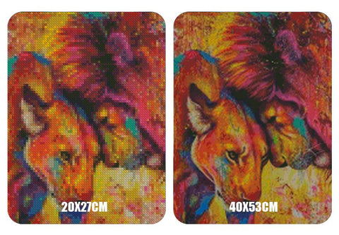 Image of 5D Diamond Painting Lion Couple