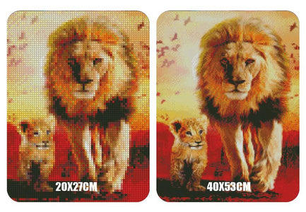 5D Diamond Painting Father and Son Lion