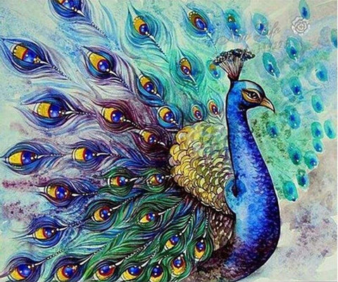 Image of 5D Diamond Painting Peacock Bird