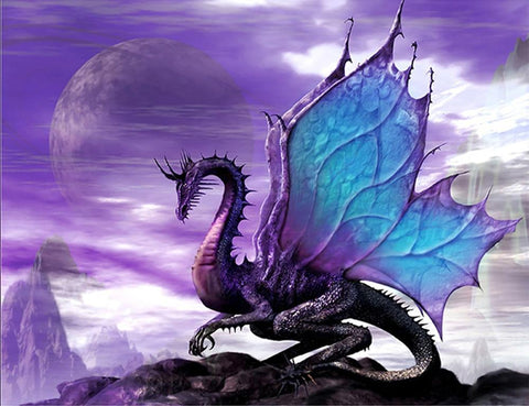 5D Diamond Painting Purple Dragon